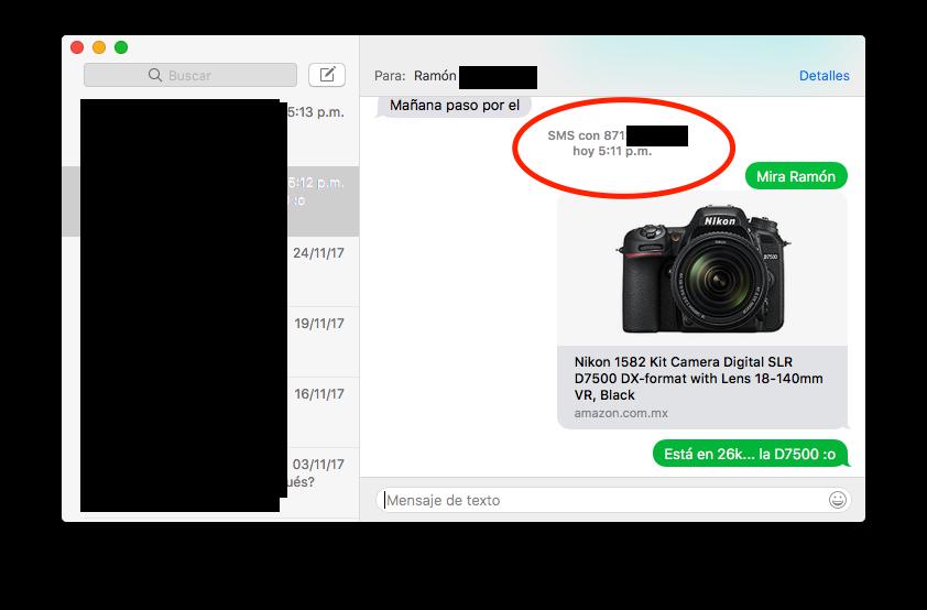 mensaje sms mac