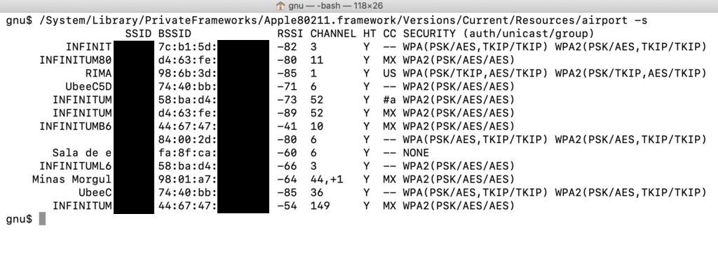 Obtener el mac address de puntos de acceso Wifi desde macOS